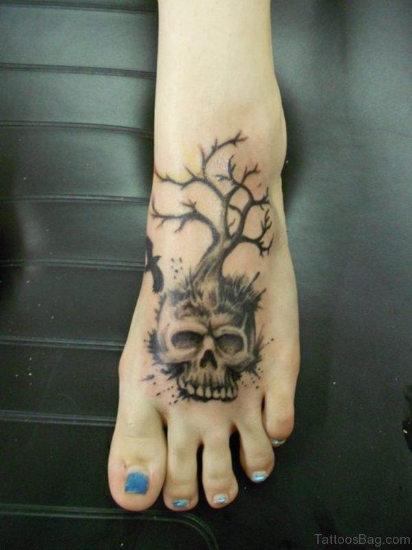 Tree And Skull Tattoo On Foot