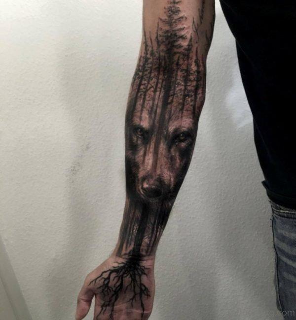 Tree And Wolf Tattoo