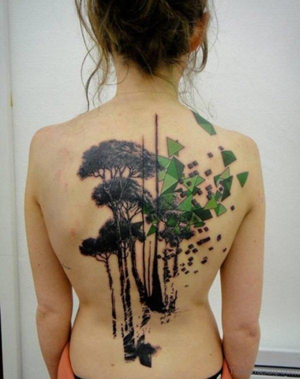 Tree Tattoo Design On Back