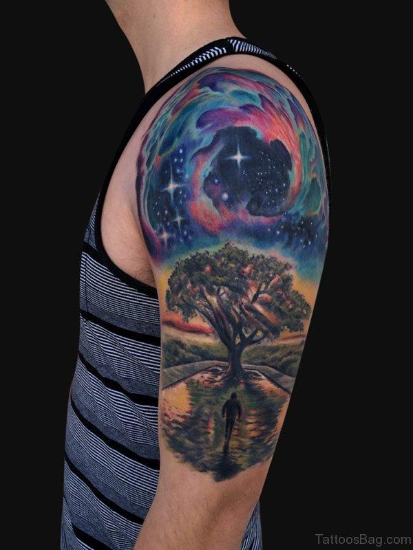 Tree Tattoo On Half Sleeve