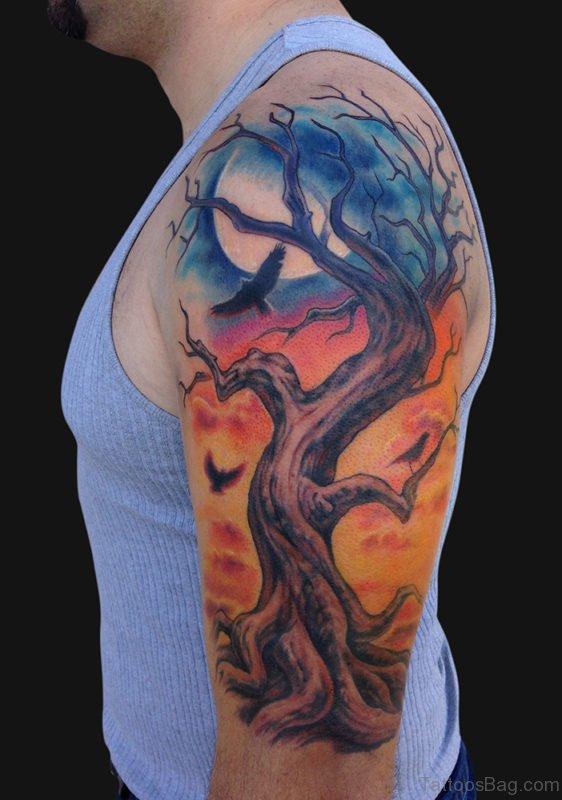 Treee Tattoo On Bicep