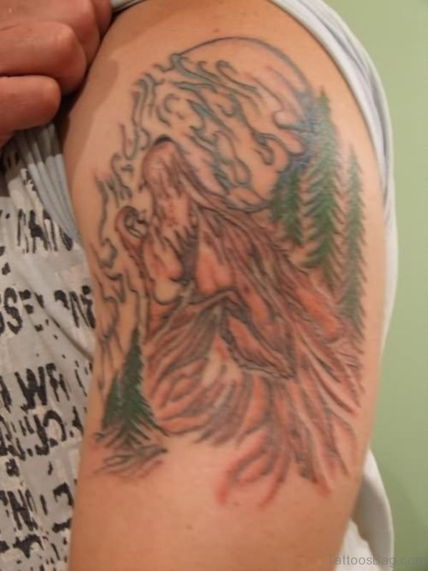 Trees And Wolf Tattoo On Shoulder