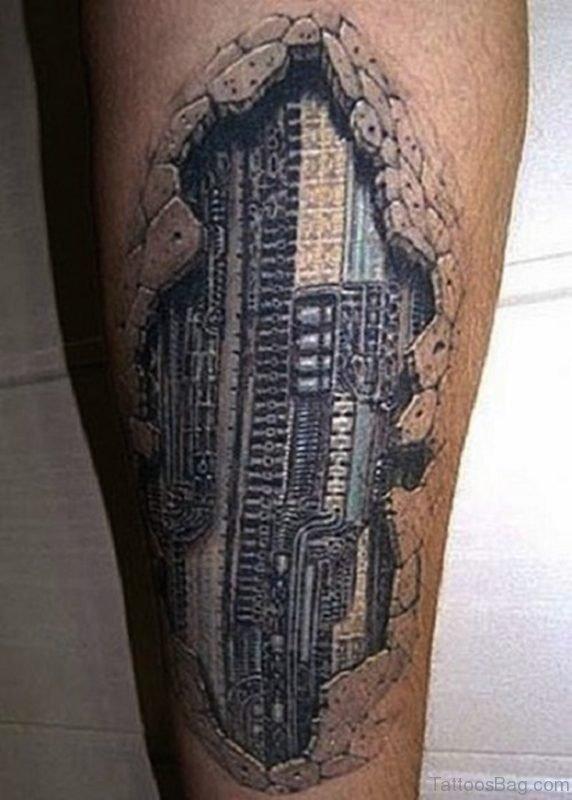 Trendy Biomechanical Tattoo On Leg
