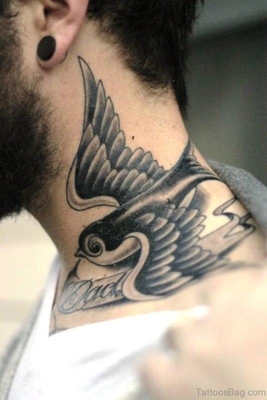 Trendy Bird Tattoo On Neck