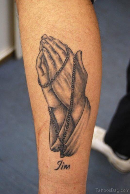Trendy Praying Hands Tattoo