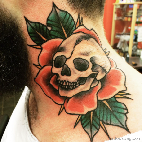 Trendy Skull Tattoo On Neck
