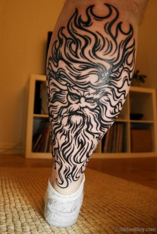 Trendy Tribal Tattoo On Leg