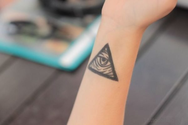 Triangle With Eye Tattoo On Wrist
