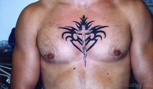 Tribal And Cross Tattoo On Man Chest