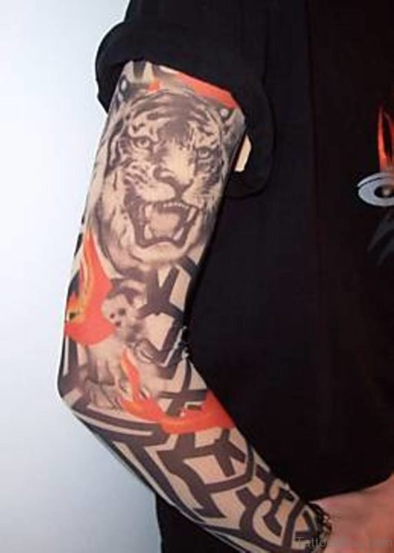 Tribal And Tiger Tattoo