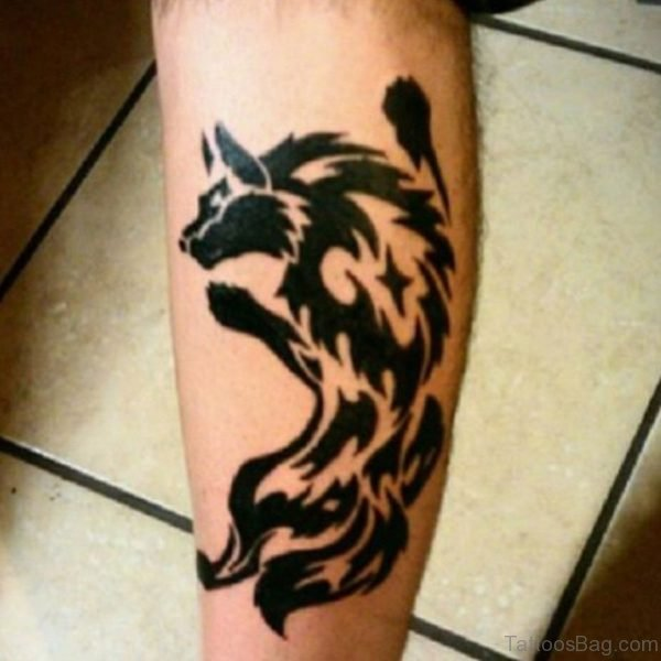 Tribal Animal Tattoo On Leg