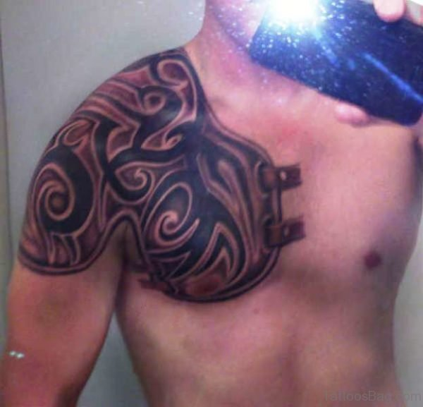 Tribal Armor Shoulder Tattoo
