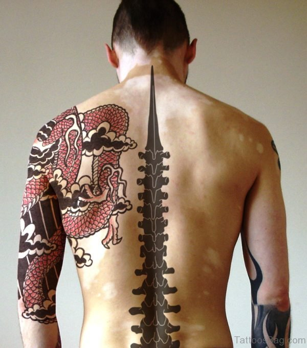 Tribal Band Guitar Tattoo On Back