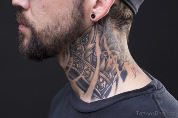 Tribal Black And Grey Tattoo On Side Neck