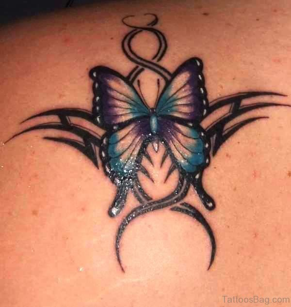 Tribal Butterfly Tattoo On Shoulder Back