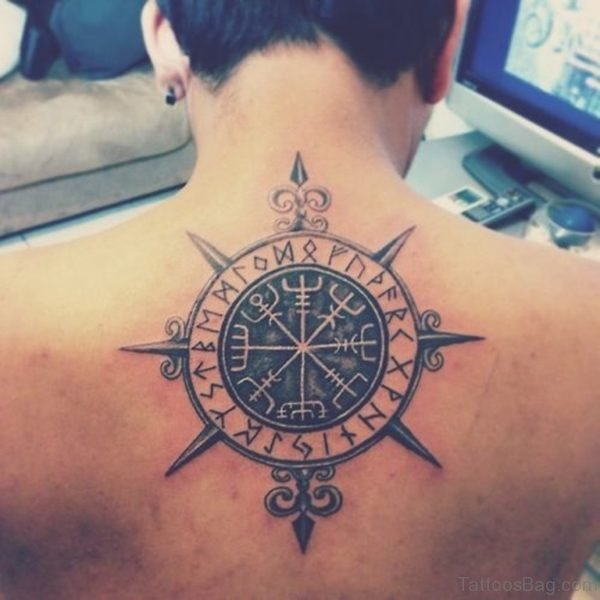 Tribal Compass on Mans Back
