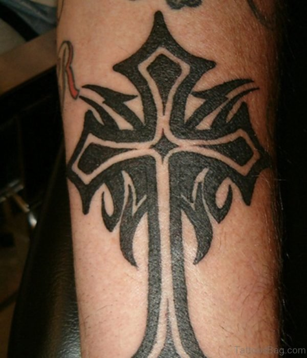 Tribal Cross Tattoo On Leg