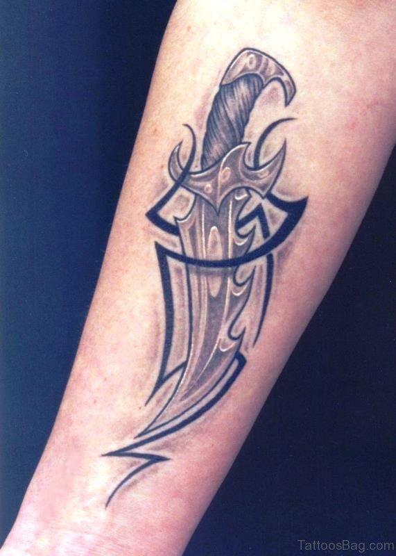Tribal Dagger Tattoo On Arm