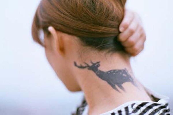 Tribal Deer Tattoo On Neck