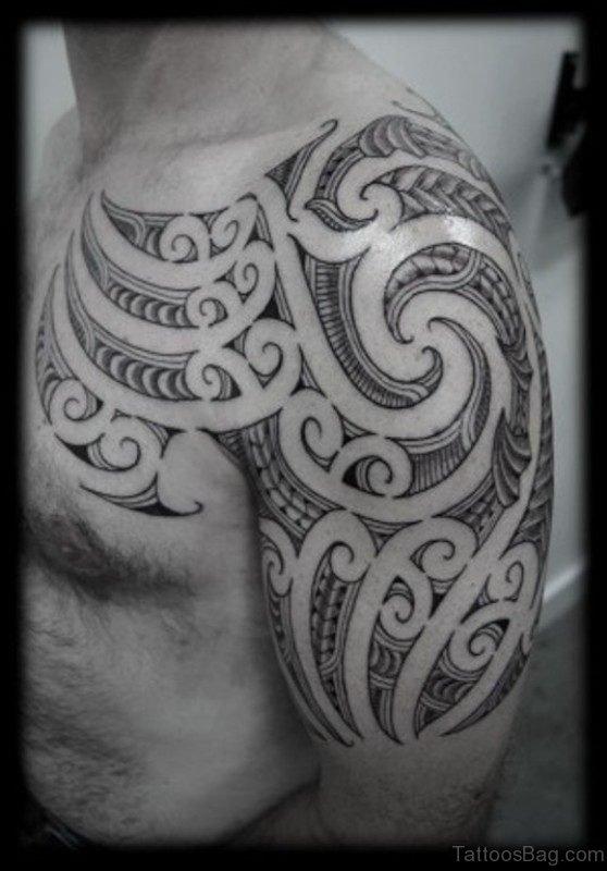 Tribal Designer Shoulder Half Sleeves Tattoo
