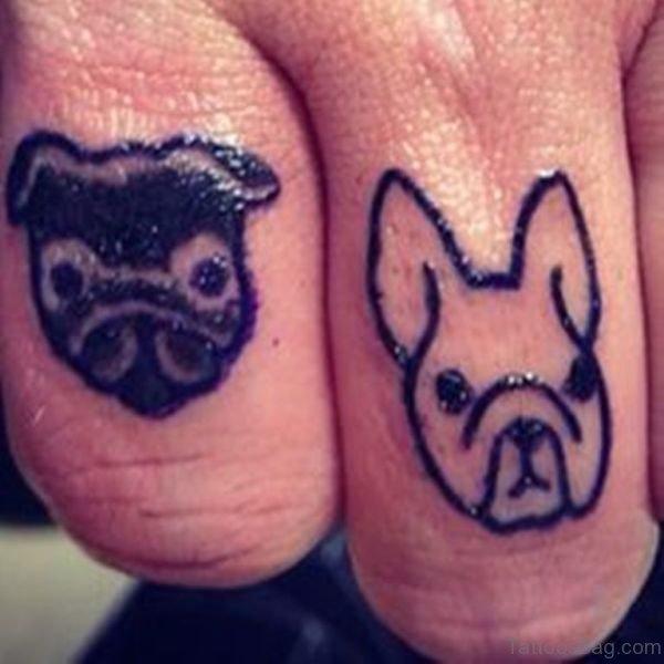 Tribal Dog Tattoo On Finger