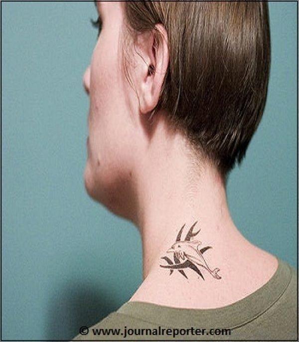 Tribal Dolphin Tattoo On Neck