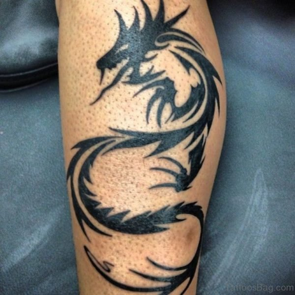 Tribal Dragon Tattoo On Leg