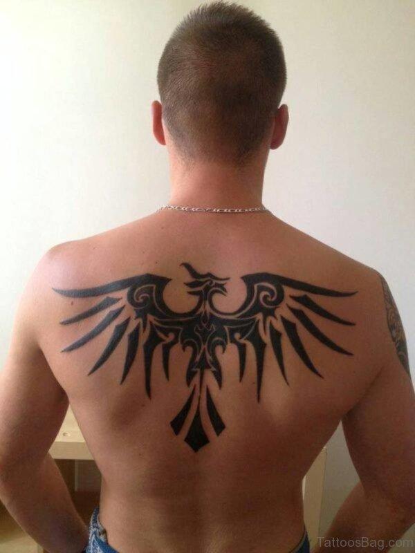 Tribal Eagle Tattoo Design On Back
