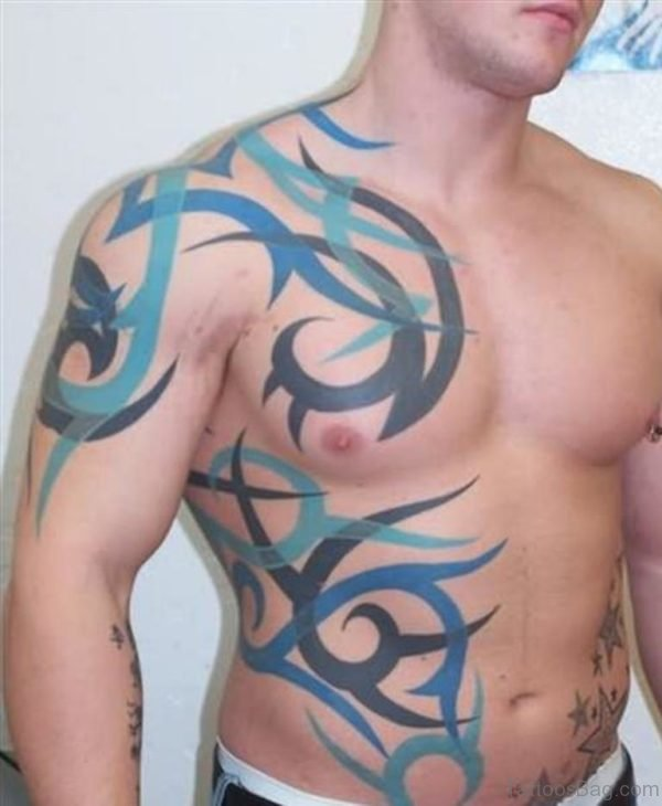 Tribal Fantasy Tattoo On Man Side Rib