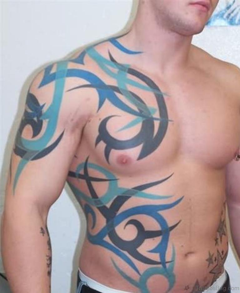 578b3d40cf2be Tribal Fantasy Tattoo On Man Side Rib