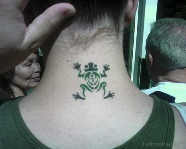 Tribal Frog Neck Tattoo