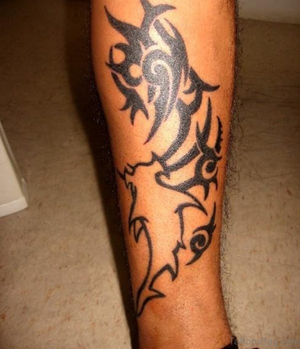 Tribal Hammerhead Shark Tattoo On Leg