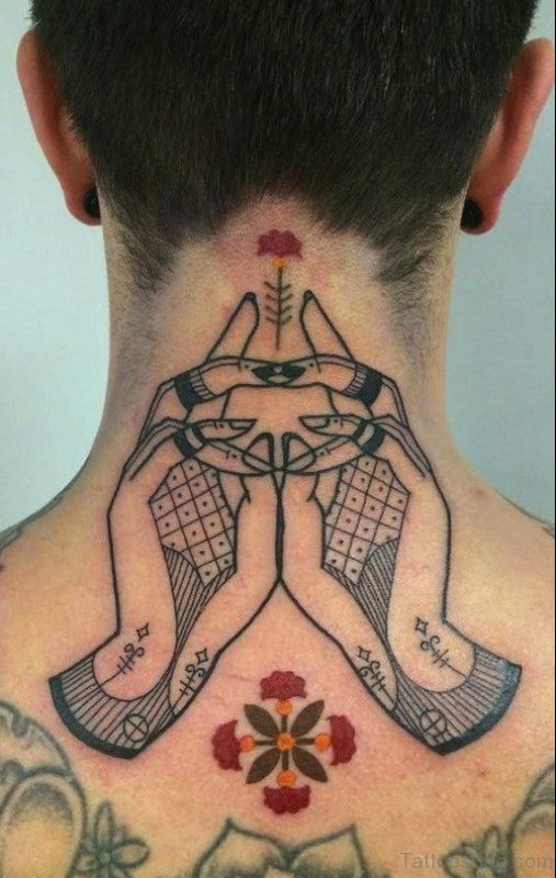 Tribal Hands Tattoo On Neck