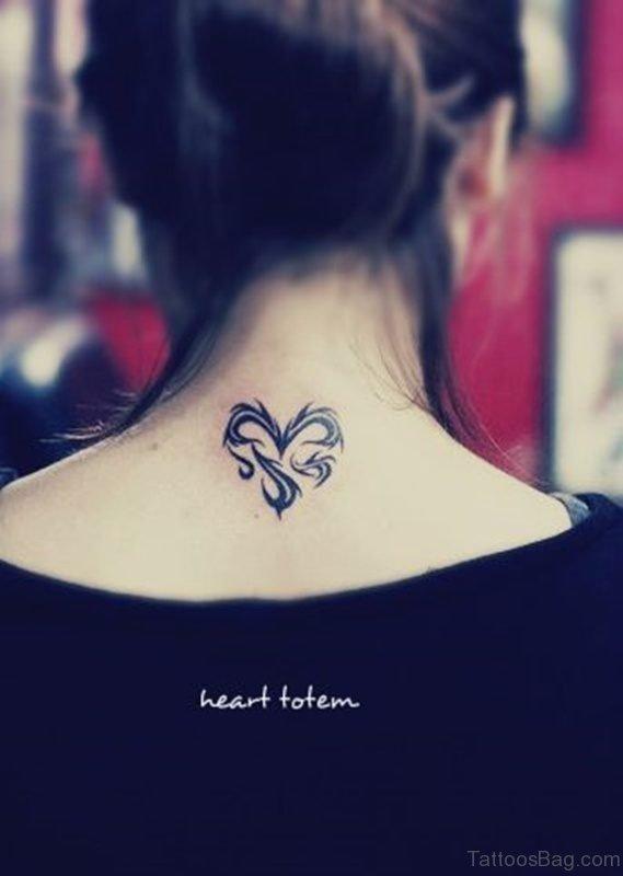 Tribal Heart Tattoo On Neck