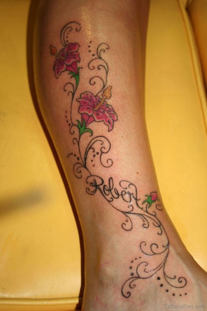 50 best flower tattoos on leg. Black Bedroom Furniture Sets. Home Design Ideas