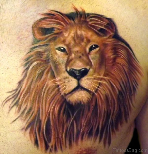 Tribal Lion Tattoo On Chest