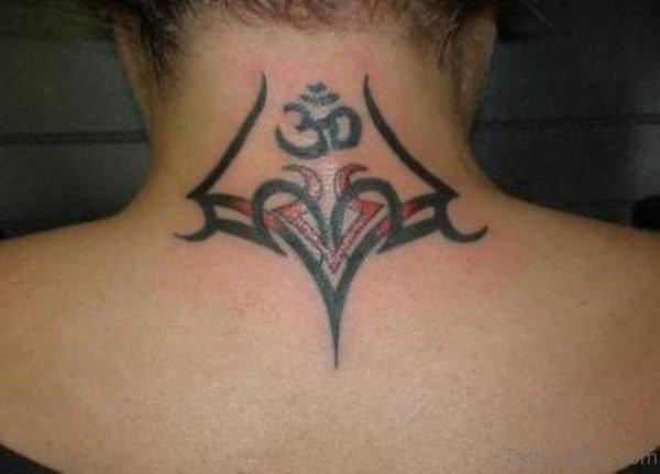 Tribal Om Tattoo On Neck
