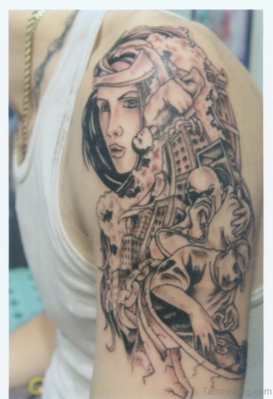 Tribal People Tattoo On Shoulder