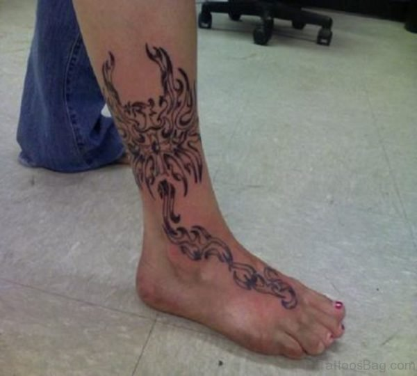 Tribal Phoenix Leg Tattoo Design