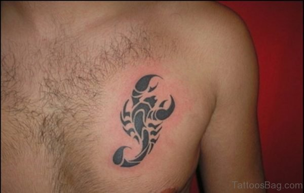 Tribal Scorpion Tattoo On Chest
