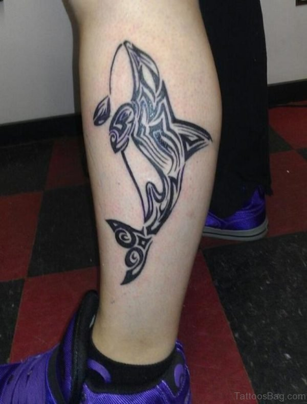 Tribal Shark Tattoo On Leg