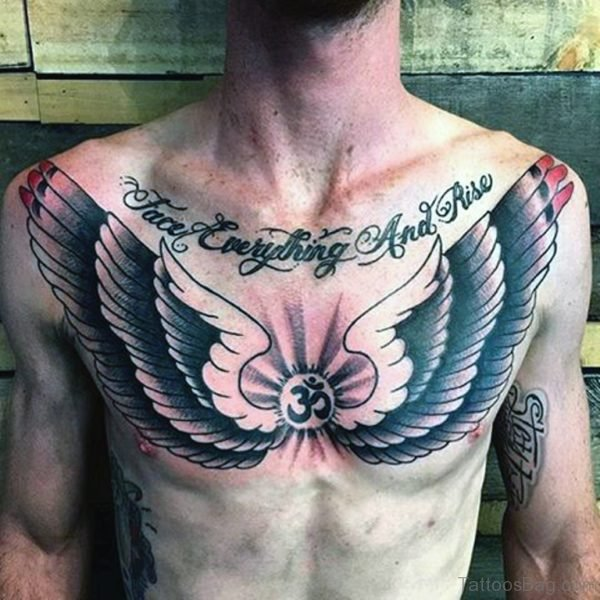 Tribal Style Male Wings Tattoo On Chest