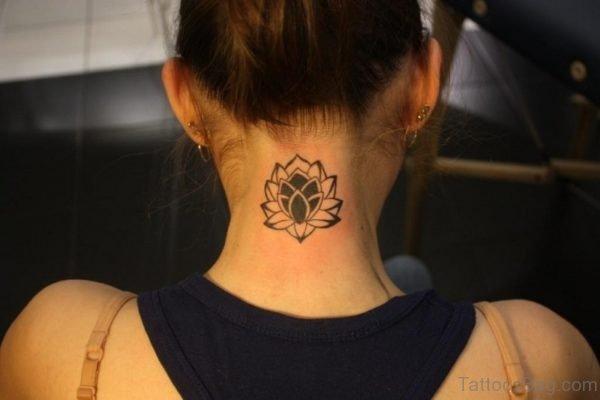 Tribal Sweet Lotus Tattoo On Neck