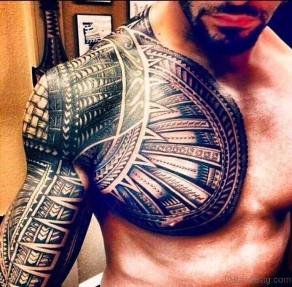 Tribal Tattoo Design On Chest