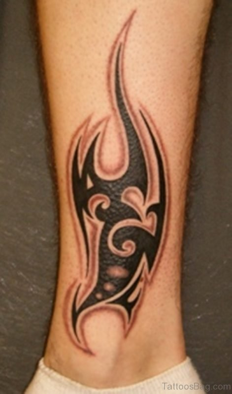Tribal Tattoo Design On Leg