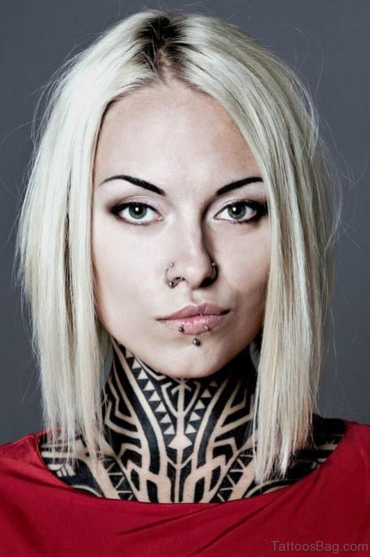 Tribal Tattoo On Front Neck