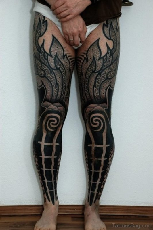 Tribal Tattoo On Full Leg