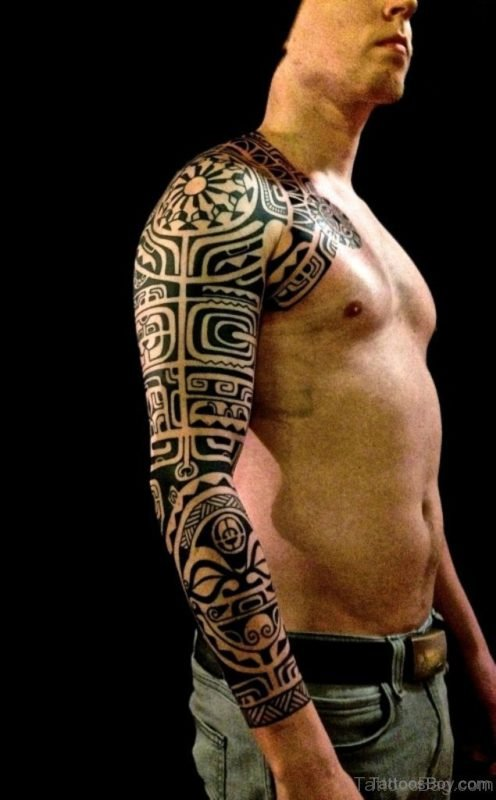 Tribal Tattoo On Full Sleeve