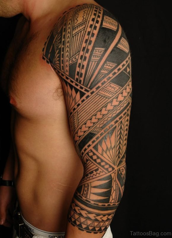 Tribal Tattoo On Full Sleeve Tattoo