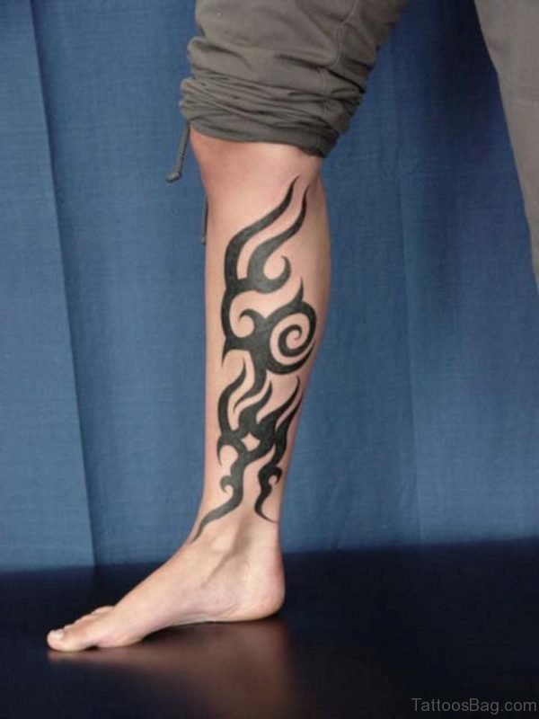 Tribal Tattoo On Leg